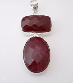 "Classy Look Longido Ruby B"" Day Gift For Her Sterling Silver Plated Pendant E661 #valueforbucks #Pendant"