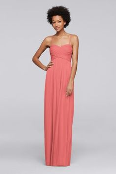 The crossover pleated bodice on this mesh long bridesmaid dress is framed by sweet spaghetti straps. Polyester Back zipper; fully lined Dry clean Imported Also available in Extra Length