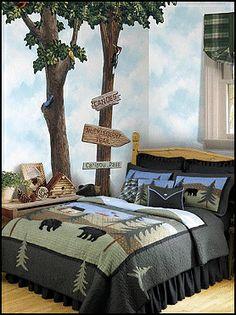Lodge Cabin Log Cabin Themed Bedroom Decorating Ideas Moose Fishing Camping Hunting Lodge