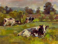 Resting, Painting by Tom Nachreiner Cow Paintings On Canvas, Farm Paintings, Impressionist Paintings, Animal Paintings, Canvas Art, Composition Art, In Natura, Farm Art, Chicken Art