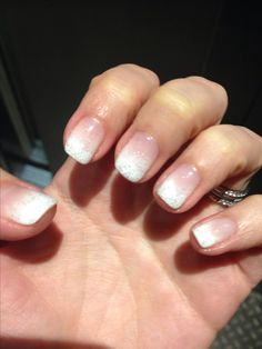 Gelish and Hollywood gel nails with glitter fade. Gel manicure. Modern french. New Years.