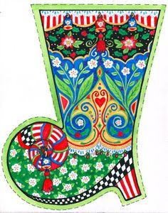 Cowgirl stocking illustration