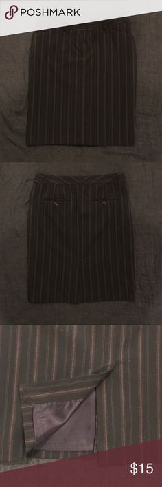 """Express Editor Pin-Stripe Skirt Size 4 Editor Black and Brown Pin-Stripe Skirt.  Career attire.  In great pre-owned condition. Inseam from waist to hem line is 21"""". Express Skirts"""