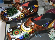 Painted Sanita Shoes | painted shoes klimt design original hand painted dansko clogs using ...