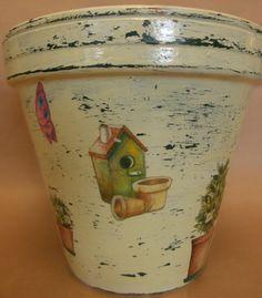 The happy garden motive flower pot by AmaranthCat on Etsy