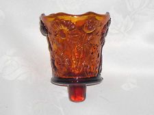 VINTAGE HOMCO AMBER DAISY VOTIVE CANDLE HOLDER WITH PEG FOR SCONCE