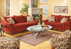 Conrad Red 7 Pc Livingroom-- like the yellow walls with red couch