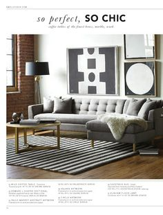 Looks so tailored! Love the grey and gold. The angular sofa and bold wall art. May need more color though.
