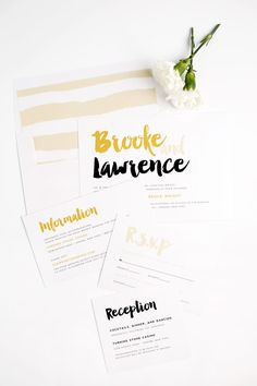 Modern Wedding Invitations with a fun Brush Stroke in Gold and Black
