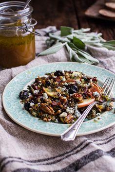 Caramelized Brussels Sprout Salad w/Blue Cheese, Bacon + Caramel Apple Vinaigrette | halfbakedharvest.com @hbharvest