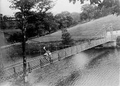 A great photo of someone waving from the small suspension bridge which once spanned the narrowest part of Fernilee reservoir. Great Photos, Old Photos, Suspension Bridge, Peak District, Natural Beauty, National Parks, History, World, Nature
