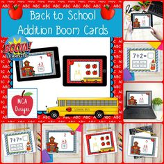 My Back to School Addition Digital Task Card set includes 40 task cards which are accessed via Boom Learning. Each digital task cards focuses basic addition facts 0-20. All task cards are accented with bright colors and Back to School themed graphics.  #teacherspayteachers #tpt #boomcards #boomlearning #digitaltaskcards #distancelearning #backtoschool #math #addition #mathfacts #additionfacts