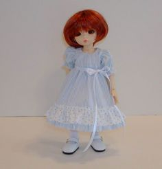 Blue & White Striped with Dotted Ruffle | by Sweet Creations Doll Fashions