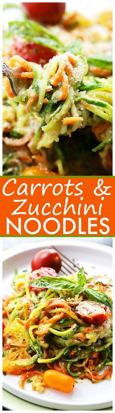 Carrot and Zucchini Noodles in Light Alfredo Sauce: