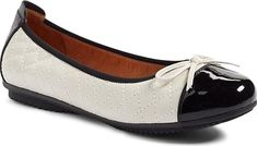 Josef Seibel Women's Shoes in Cream Color. Quilted leather and a patent cap toe define this ultra-comfortable flat set on a flexible articulated sole.