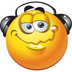 This smiley is trying to block out the world to enjoy some rest and relaxation with music.