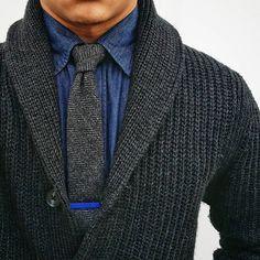 textures // sweater, cardigan, tie, tiebar, menswear, mens style