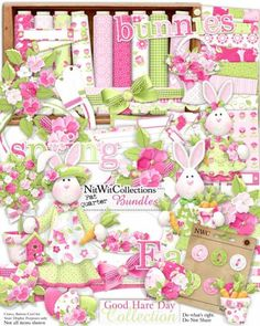 Digital scrapbooking cute bunny rabbit and card making cute bunny rabbit kit to celebrate Spring! FQB - Good Hare Day Collection