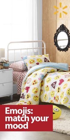 Let your dorm room express just how you feel — with emojis! Texting and tweeting are more fun with emojis, so why not use your bedspread, pillows and wall art to match your mood? If a picture is worth a thousand words,  these fun decor ideas are sure to put a winking smile on your face. Find emoji home accessories and dorm room decor at Walmart.com.