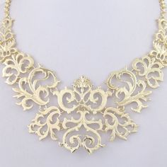 Gorgeous Court Gold Tone Statement Necklace, Chunky Necklace, Pendant Necklace with Chain Adjustable-129517821 on Etsy, $7.99