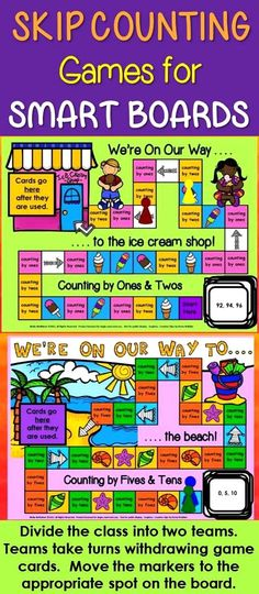 #smartboard  Play these skip counting games on the SMART board.  (SMART Notebook software is required)  Divide the class into two teams.  Take turns withdrawing a game card.  Move the game piece to the appropriate spot.  The winning team is the group that arrives at the destination first.