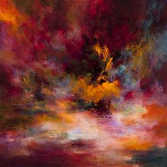 "Saatchi Art Artist: Rikka Ayasaki; Acrylic Painting ""Passions - Sunset 7002 (Painted in 2013, 70x70x5cm)"""