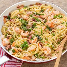 One Pan Shrimp Asparagus Carbonara Recipe Main Dishes with bacon, onions, garlic, spaghetti, large shrimp, fresh asparagus, cream, egg yolks, parmesan cheese, ground pepper, salt