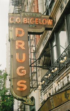 C.O. Bigelow, Pharmacy NYC 6th Av between 8th & 9th St. Same location and interior since 1838.