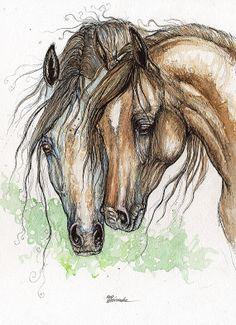 Two arabian horses pen and irridescent watercolor painting- custom art