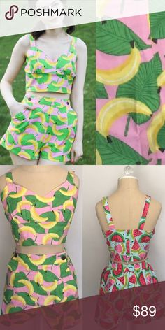 Banana crop top and bottom set *also available in watermelon (see separate listing) Fun summer crop top and bottom set in darling fruit prints.  Bottoms come with elastic stretch waist in back, pockets, a wide waist band, and functional buttons.  Top has fixed straps and is 100% cotton  Made in USA  sold as set, price reflects cost of one bottom combined with one top. Modcloth Tops Crop Tops