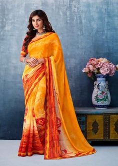 Buy Faux Georgette Abstract Print Printed Saree in Multi Colour Online Designer Sarees Collection, Latest Designer Sarees, Latest Sarees, Saree Collection, Saree Sale, Celebrity Gowns, Yellow Saree, Casual Saree, Traditional Sarees