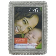 """4"""" x 6"""" Antique Silver Metal Frame with Beaded Design"""