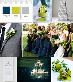 Navy blue, olive green, and gray make a great color combination for a classic wedding!