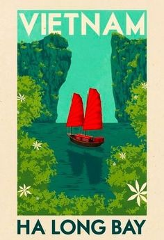 #Vietnam #Vintage #Travel Poster - Ha Long Bay. TravelPhotoTours.com / TravelBoldly.com / JeromeShaw.com