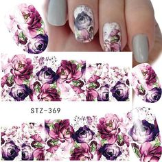 1 Sheet Water Transfer Women Full Cover Sticker Nail Art Decals Nail Art Beauty Purple Rose Decorations Polish Tips Water Transfer Nail Art Stickers Size: Flower Designs Packing : 1 sheet Water nail art sticker Attention : this shipping way is without . Christmas Manicure, Christmas Nail Art, Purple Roses, Deep Purple, Prom Nails, My Nails, Water Nail Art, Nail Water Decals, Nail Polish Stickers