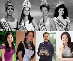 "Miss Universe title holders from Asia then and now. With our very own Miss Universe 1969 ""Gloria Diaz"" & Miss Universe 1973 Miss Universe Philippines, Miss Philippines, Filipino Fashion, Philippine Women, Filipino Culture, Filipina Beauty, Hawaiian Tropic, Filipiniana, Miss World"
