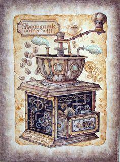 Купить Картина в раме Стимпанк-кофемолка ретро коричневый кофе - коричневый, бежевый коричневый серый