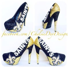 New Orleans Saints Glitter High Heels. I can do any sports team or school in any color combination you want. if you would like to order a