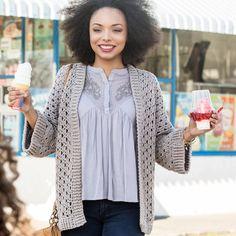 Loops & Threads® Joy DK™ Cappuccino Crochet Kimono Project