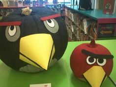 This Angry Birds pumpkin set is a 2012 entry in the Keller Public Library pumpkin decorating contest.