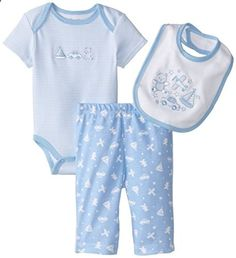 Little Me Baby Boys Playtime Bodysuit and Pant Set Light Blue New Born. Check website for more description.