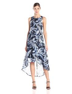 Karen Kane Women's Blue Feather High-Low Dress *** Discover this special product, click the image : cocktail dresses
