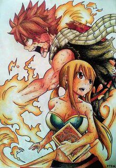 Natsu y Lucy Fairy Tail Nalu, Fairy Tail Ships, Fairy Tail Gray, Fairy Tail Love, Dragons, Chibi, Natsu And Lucy, Fairy Tail Guild, Fairy Tail Couples