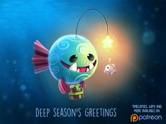 Daily Paint Deep Season's Greetings by Piper Thibodeau on ArtStation. Cute Animal Drawings, Kawaii Drawings, Cute Drawings, Animal Puns, Animal Food, Dibujos Cute, Cute Doodles, Cute Creatures, Pokemon