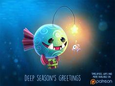Daily Paint Deep Season's Greetings by Piper Thibodeau on ArtStation. Cute Animal Drawings, Kawaii Drawings, Cute Drawings, Animal Puns, Animal Food, Illustration Noel, Cute Puns, Dibujos Cute, Cute Creatures