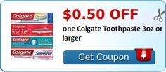 New Coupon!  $0.50 off one Colgate Toothpaste 3oz or larger - http://www.stacyssavings.com/new-coupon-0-50-off-one-colgate-toothpaste-3oz-or-larger-2/