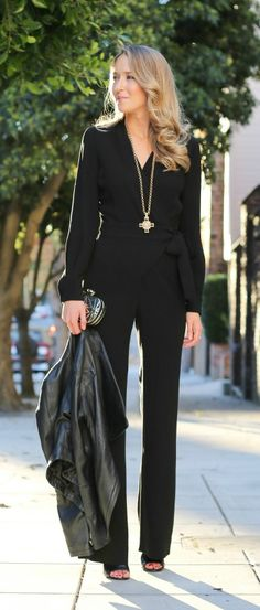 :: day of :: dvf margot wrap jumpsuit, leather jacket, black leather mules + large cross pendant necklace Office Fashion, Work Fashion, Jeans Overall, Classy Cubicle, Wrap Jumpsuit, Black Jumpsuit, Wrap Dress, Look Formal, Elegantes Outfit