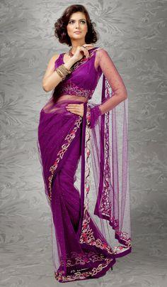 Purple Designer Saree Online  For More Salwar Kameez Check this page now :-http://www.ethnicwholesaler.com/salwar-kameez