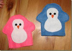 Penguin finger puppets from felt - for ideas only as no pattern. #HomePreschool #Penguin #LetterP