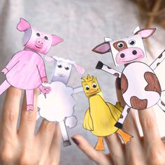 Printable Farm Animals Finger Puppets - Easy Peasy and Fun - - Printable Farm Animals Finger Puppets We have a brand new Printable Farm Animals Finger Puppets set for your kids to make and enjoy playing with. Animal Crafts For Kids, Crafts For Kids To Make, Toddler Crafts, Preschool Crafts, Diy Crafts To Sell, Projects For Kids, Art For Kids, Diy Crafts Videos, Arts And Crafts